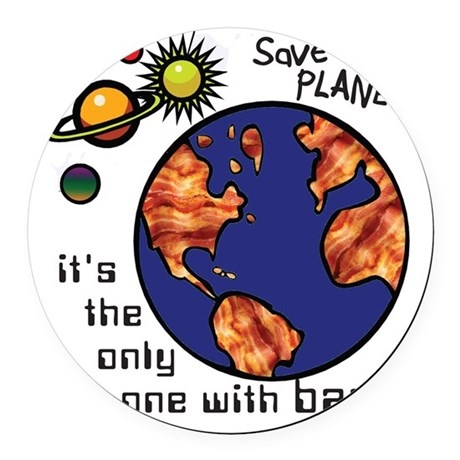 bacon-environmentalist Round Car Magnet