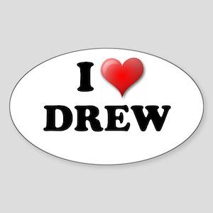 I LOVE DREW T-SHIRT, DREW SHI Oval Sticker