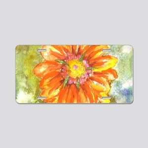 Orange Daisy Aluminum License Plate