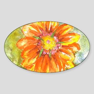Orange Daisy Sticker (Oval)