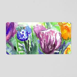 Purple Orange Tulips Aluminum License Plate