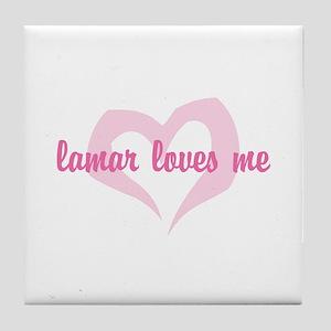 """lamar loves me"" Tile Coaster"