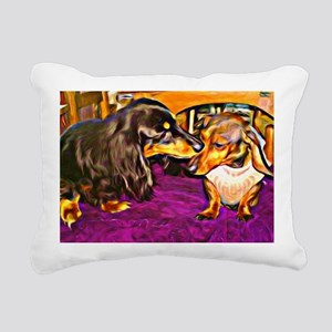 two cute doxies Rectangular Canvas Pillow