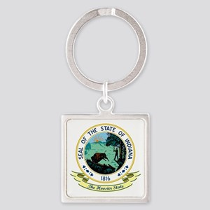Indiana Seal Square Keychain