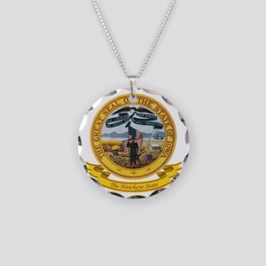 Iowa Seal Necklace Circle Charm