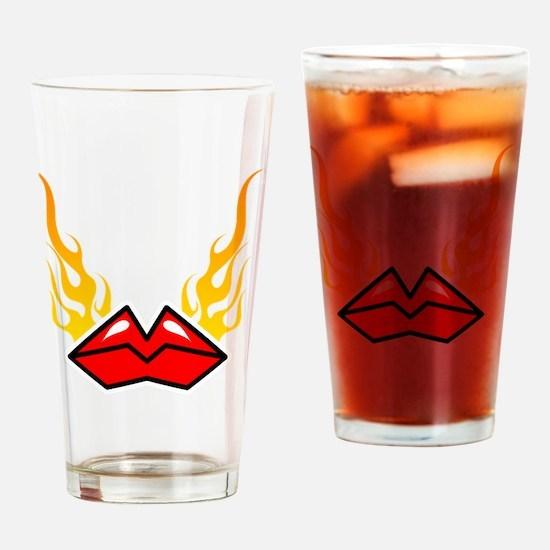 hotlips_blk Drinking Glass