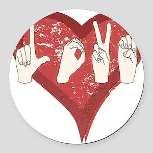 LoveASL Round Car Magnet