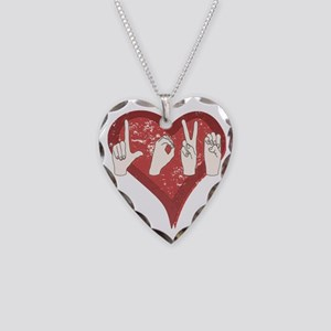 LoveASL Necklace Heart Charm