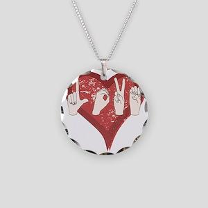 LoveASL Necklace Circle Charm