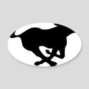 running mustang-black Oval Car Magnet