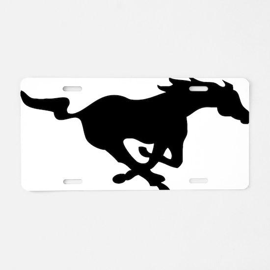 running mustang-black Aluminum License Plate