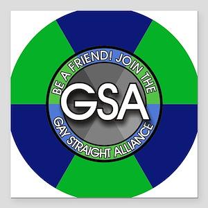 "GSAbuttonBlueGreen Square Car Magnet 3"" x 3"""
