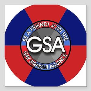 """GSAbuttonRedBlue Square Car Magnet 3"""" x 3"""""""