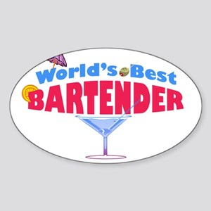 world-best-bartender-light Sticker (Oval)