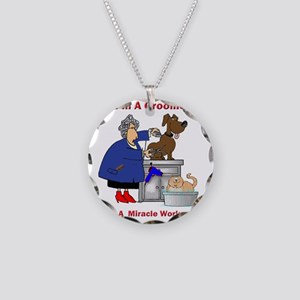 dog groomer Necklace Circle Charm