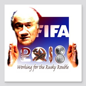 "FIFA 2018 RUSKY ROUBLE Square Car Magnet 3"" x 3"""