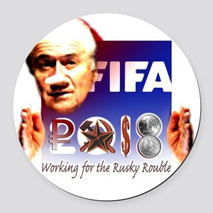FIFA 2018 RUSKY ROUBLE Round Car Magnet