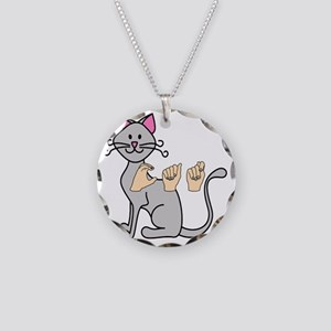 CatPainted Necklace Circle Charm