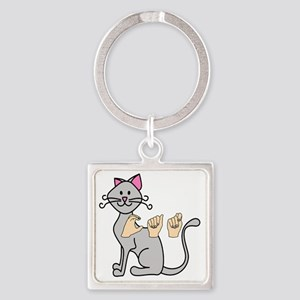 CatPainted Square Keychain