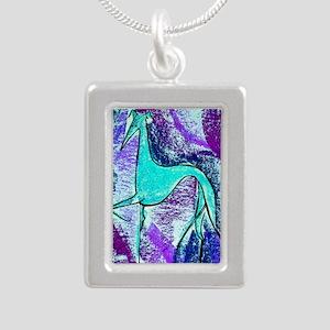 Aqua Grey Silver Portrait Necklace