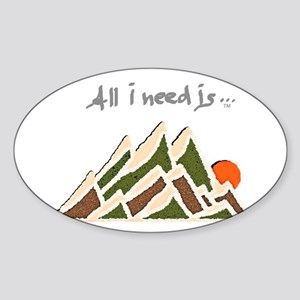 Need Mountains on Dark Material Sticker (Oval)