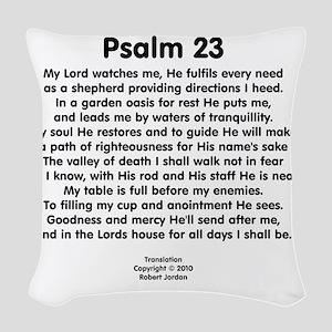 Psalm23-black Woven Throw Pillow