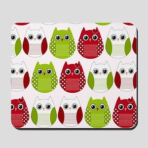 Retro Mod Christmas Polka Dot Owls Mousepad