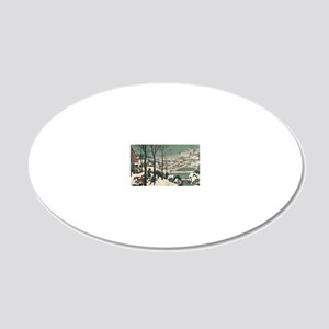 Hunters in the Snow by Piete 20x12 Oval Wall Decal