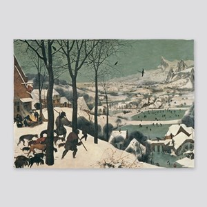 Hunters in the Snow by Pieter Brueg 5'x7'Area Rug