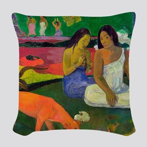 Arearea (The Red Dog) by Paul  Woven Throw Pillow