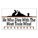 Dies with most tools Rectangle Sticker