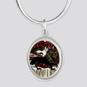 lioness2-1 Silver Oval Necklace