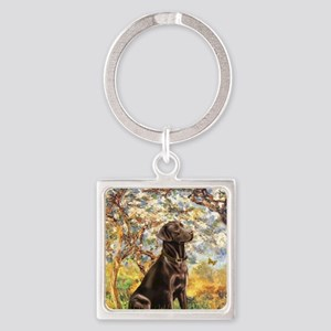 Spring - Chocolate Lab 11 Square Keychain