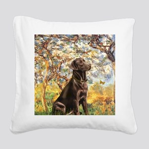 Spring - Chocolate Lab 11 Square Canvas Pillow