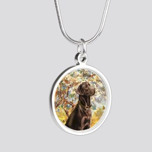 Spring - Chocolate Lab 11 Silver Round Necklace