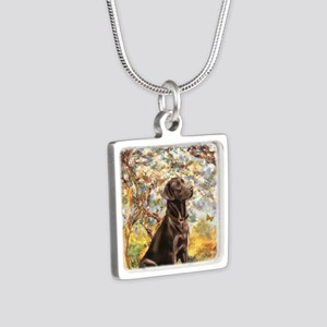Spring - Chocolate Lab 11 Silver Square Necklace