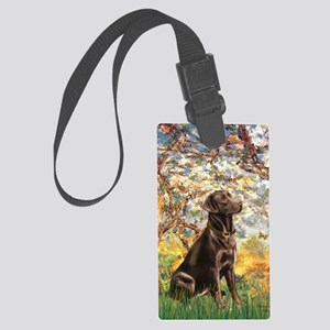 Spring - Chocolate Lab 11 Large Luggage Tag