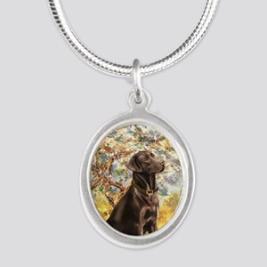 Spring - Chocolate Lab 11 Silver Oval Necklace