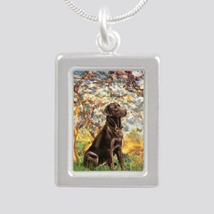 Spring - Chocolate Lab 1 Silver Portrait Necklace