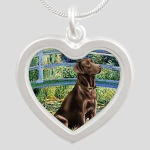 Bridge - Chocolate Lab 11 Silver Heart Necklace