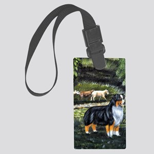 aussie tri w sheep Large Luggage Tag