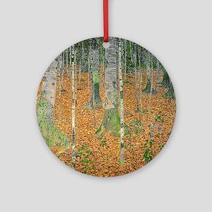 The Birch Wood by Gustav Klimt Round Ornament
