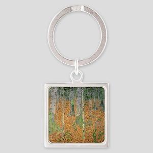 The Birch Wood by Gustav Klimt Square Keychain