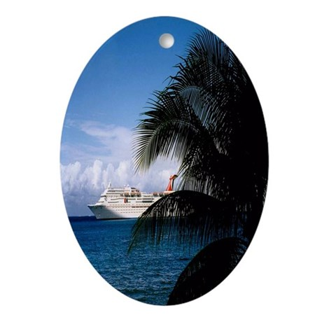Carnival docked at Grand Cayman5.5x8 Oval Ornament