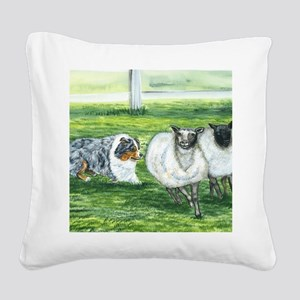aussie blue herding Square Canvas Pillow