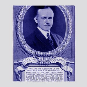 Coolidge-quote-card-blue Throw Blanket