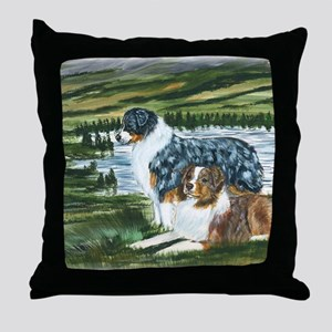 aussie blue and red in feild Throw Pillow