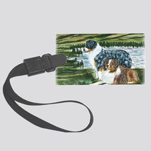 aussie blue and red in feild Large Luggage Tag