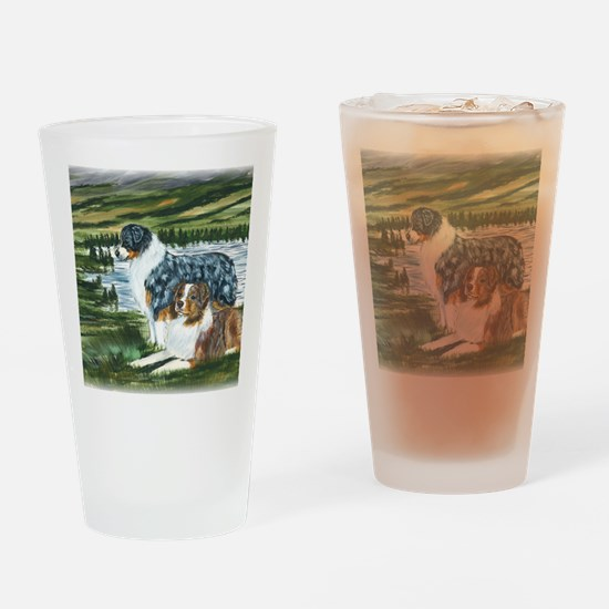 aussie blue and red in feild Drinking Glass