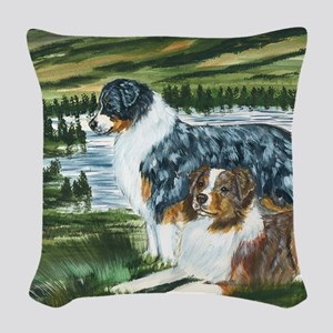 aussie blue and red in feild Woven Throw Pillow